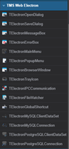 WPA y Electron en TMS Web Core para VS Code - Paleta de componentes Electron