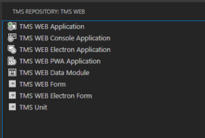 WPA y Electron en TMS Web Core para VS Code - Nuevo menú